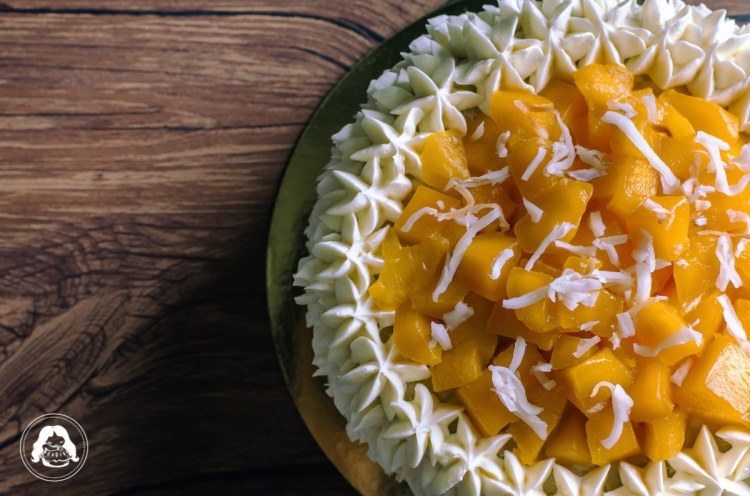 Coconut Dream Cake Mango Topping JESBAKES