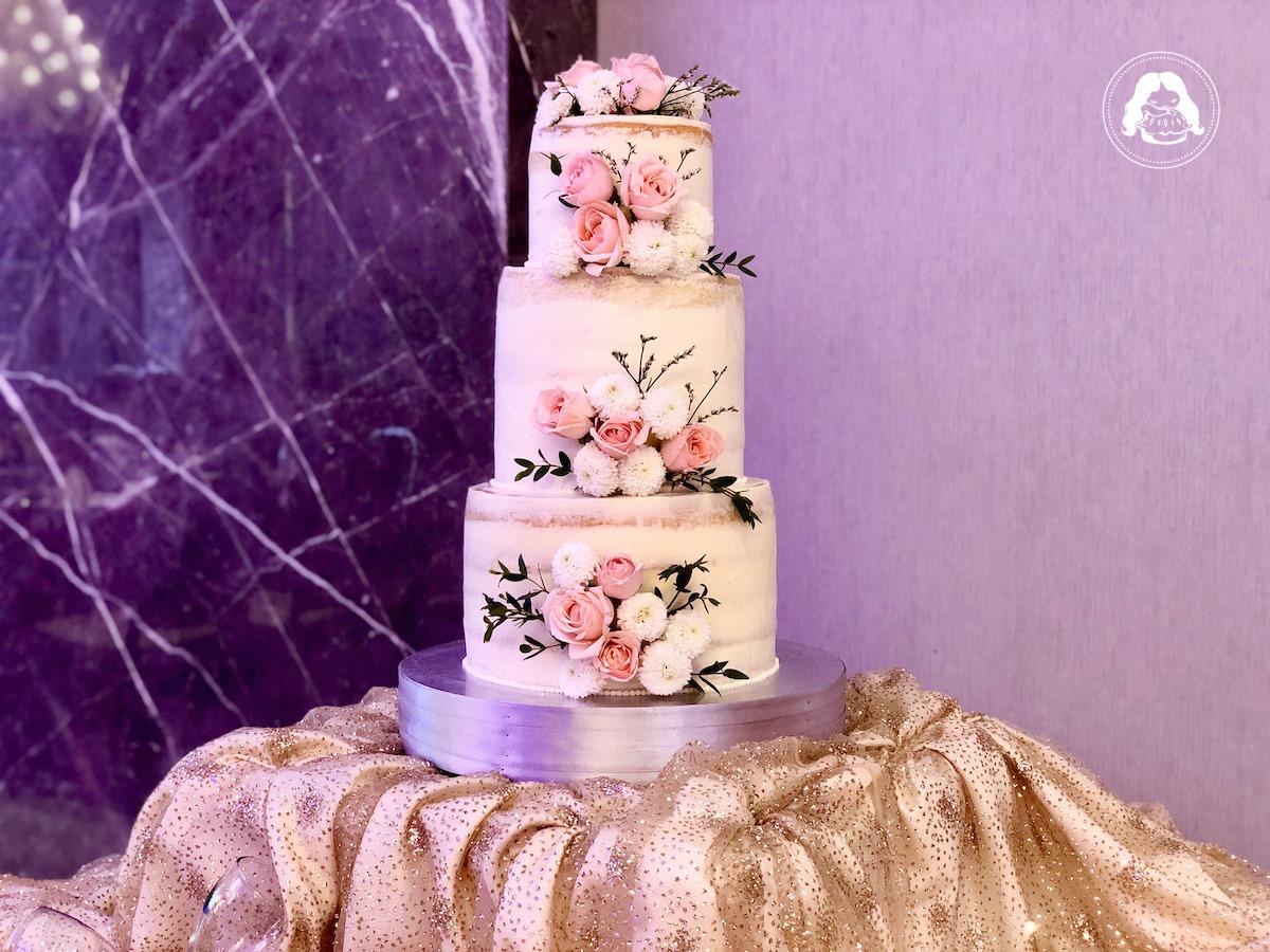 Naked Wedding Cake Real Flowers JESBAKES
